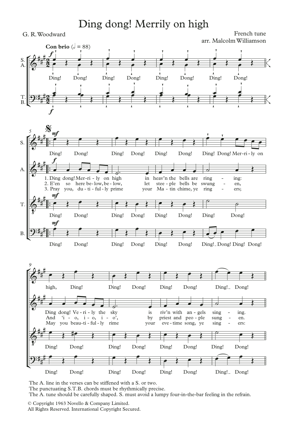 Ding Dong! Merrily On High (arr. Malcolm Williamson) Digitale Noten