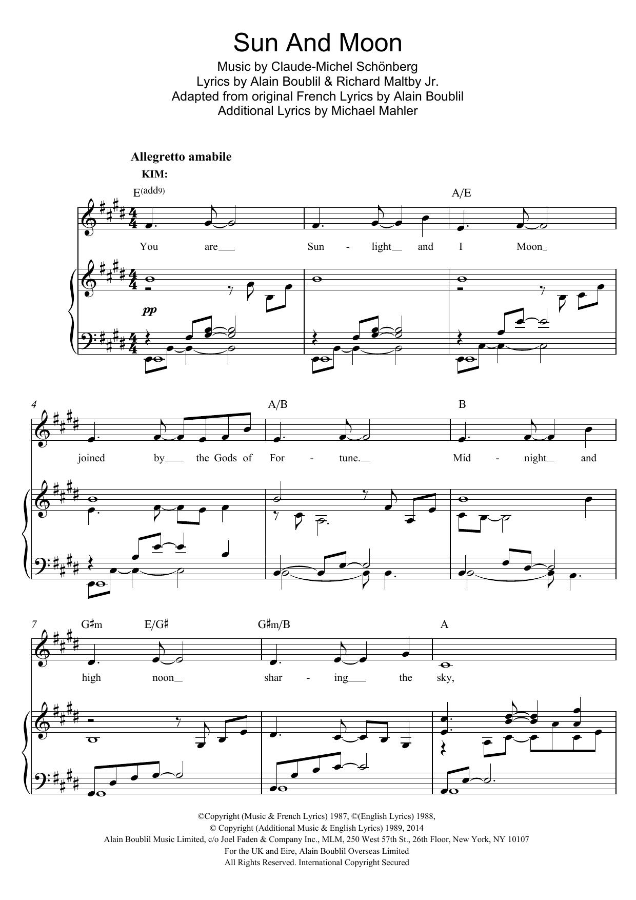 Sun And Moon Sheet Music