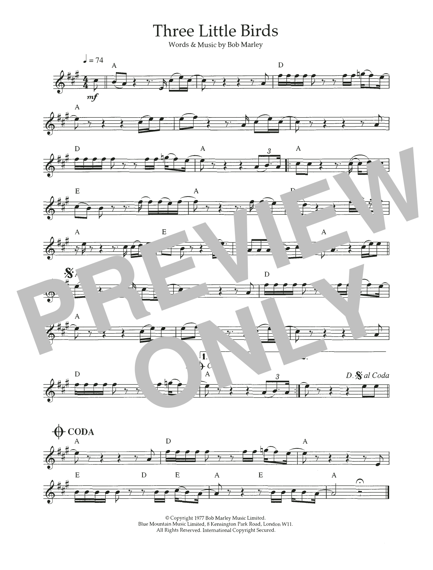 Three Little Birds Sheet Music Bob Marley Flute Solo