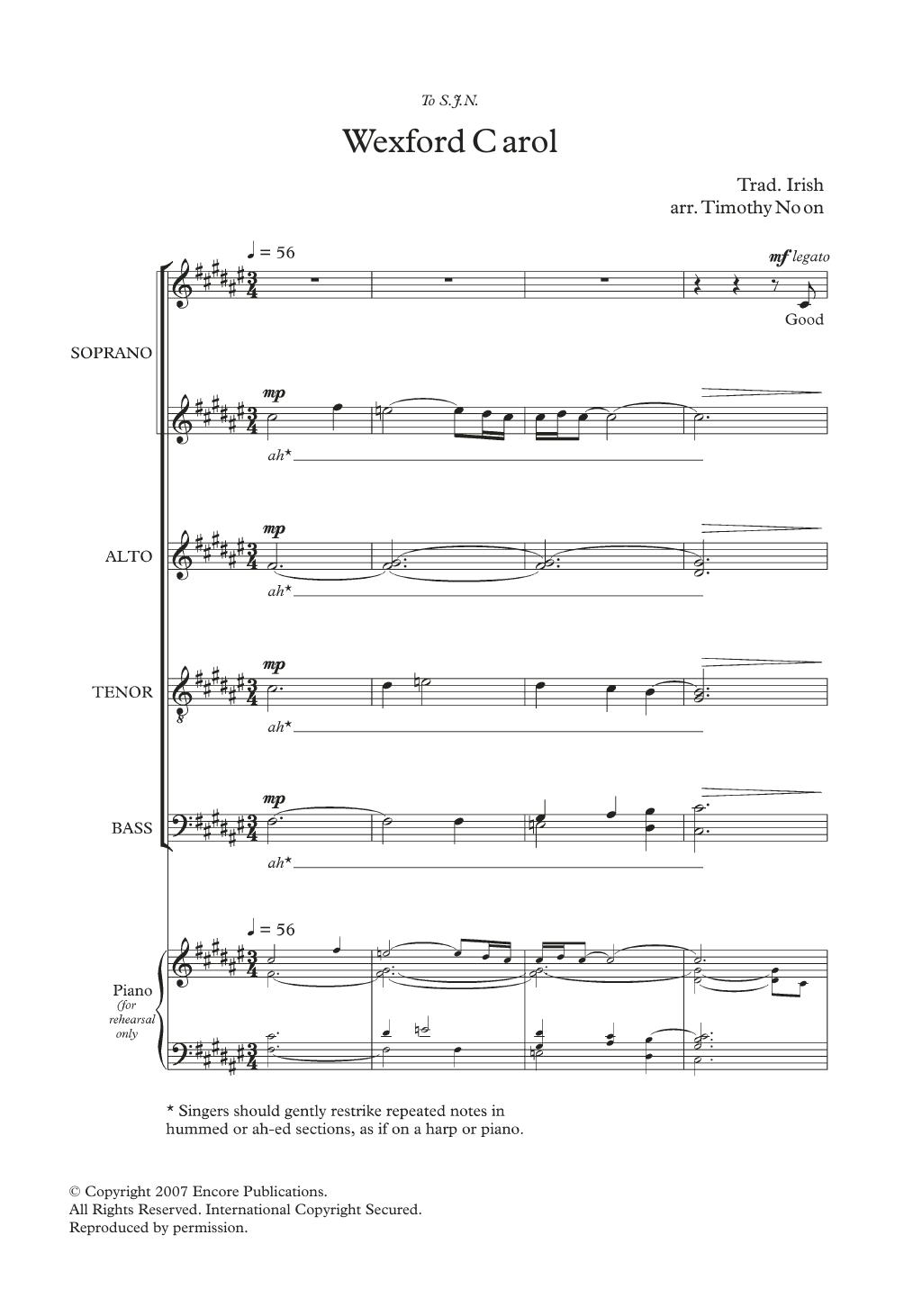 Wexford Carol (arr. Timothy Noon) Sheet Music
