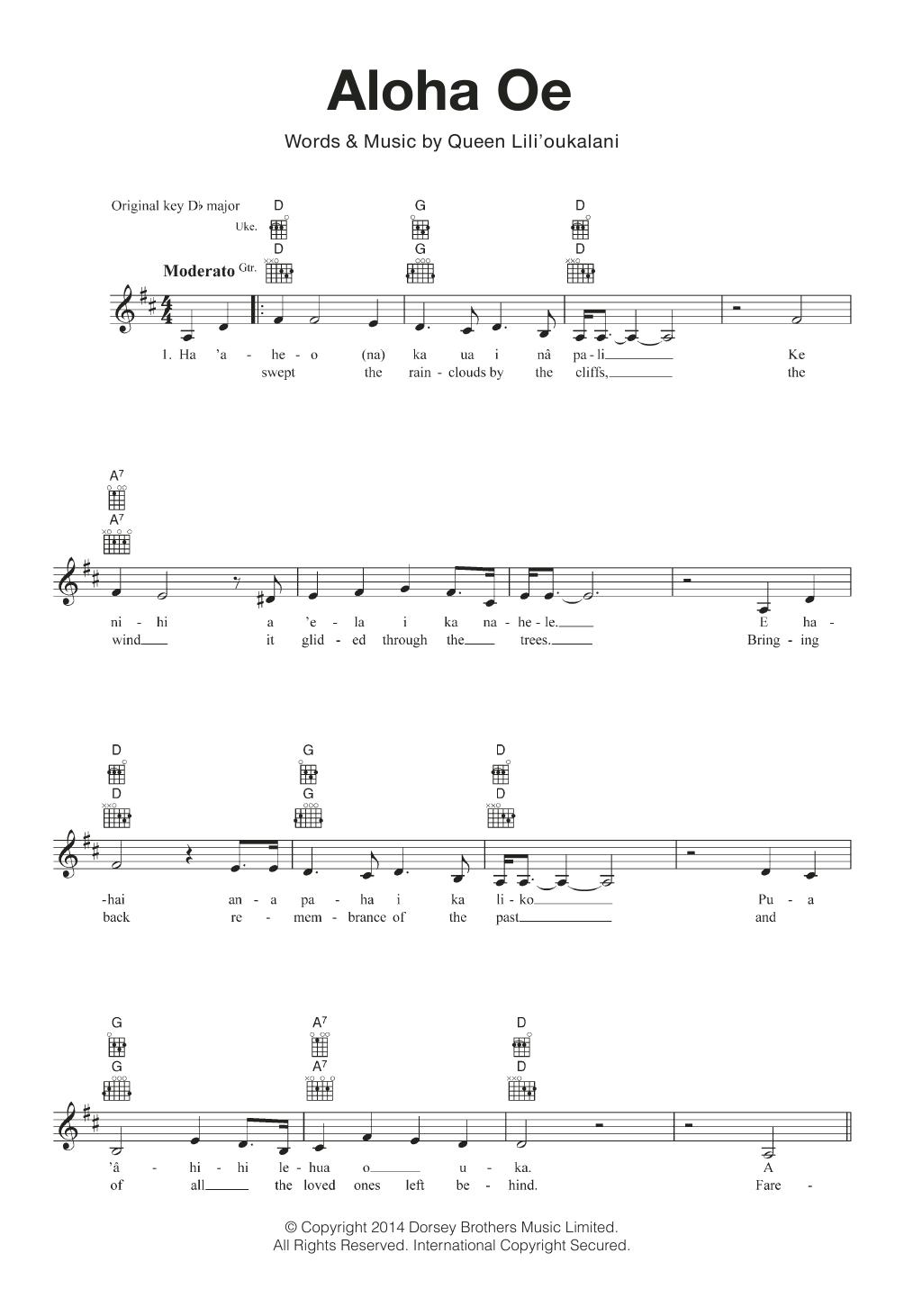 Aloha Oe Sheet Music