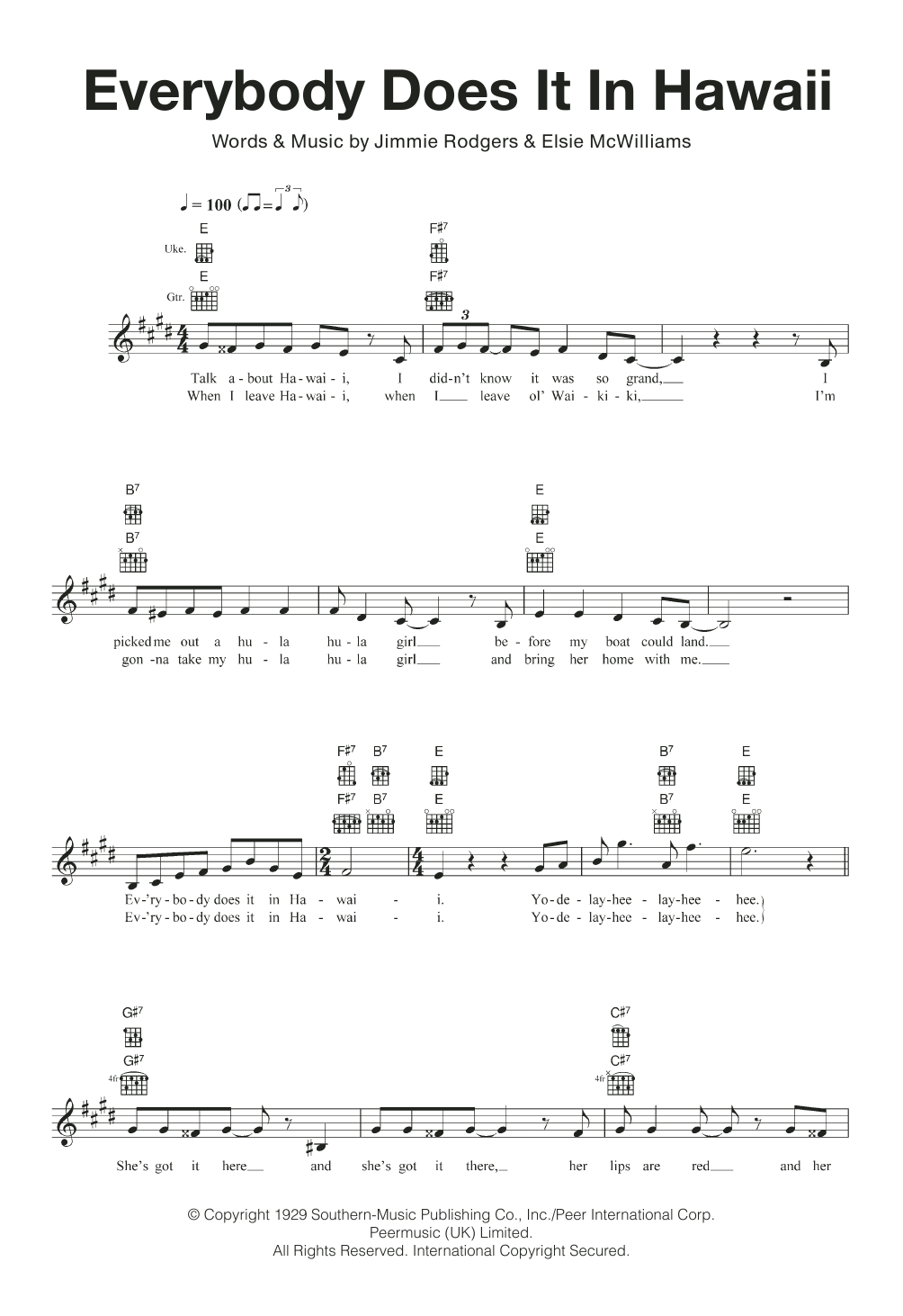 Everybody Does It In Hawaii Sheet Music