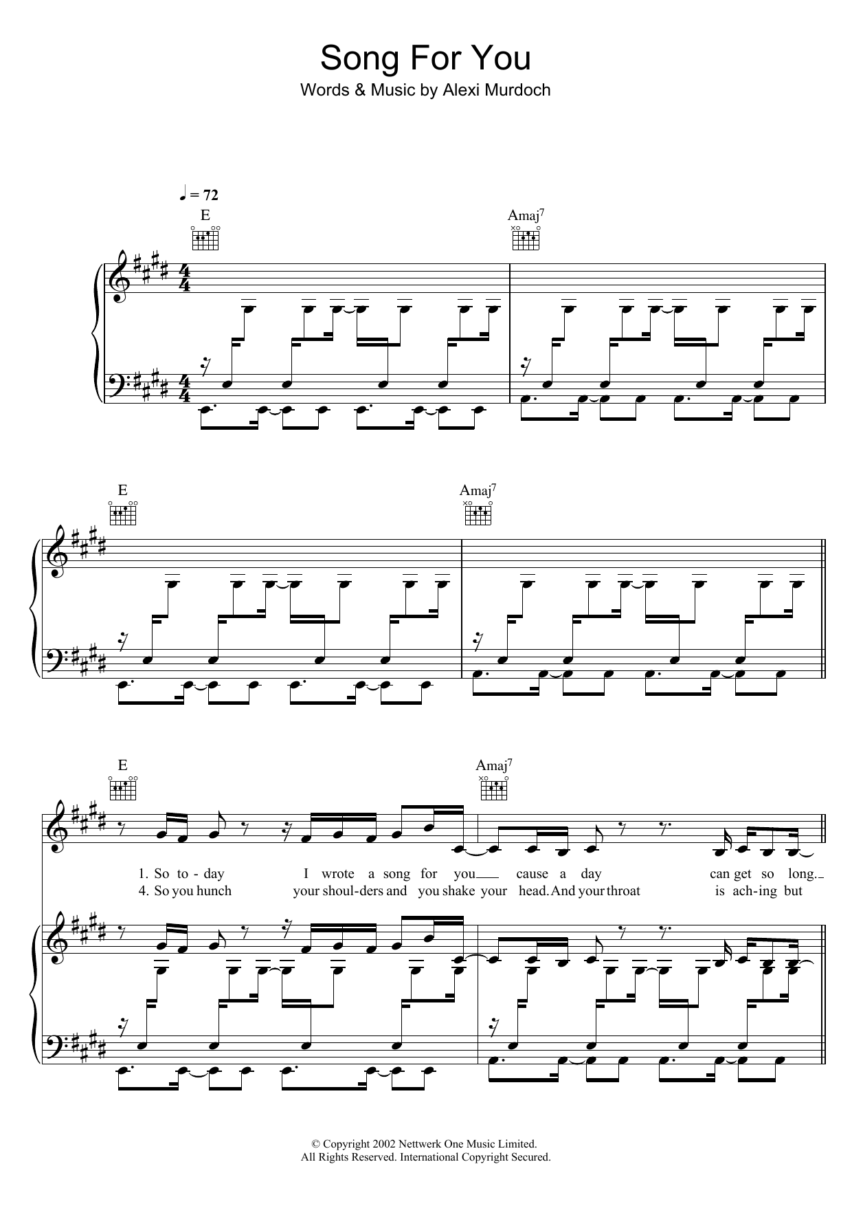 Song For You Sheet Music