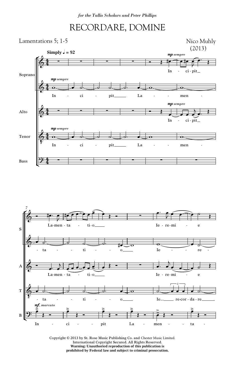 Recordare, Domine Sheet Music