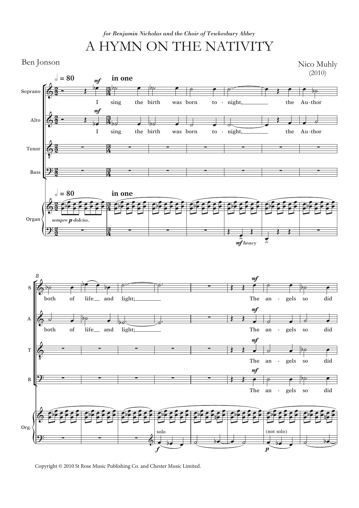 A Hymn On The Nativity Sheet Music