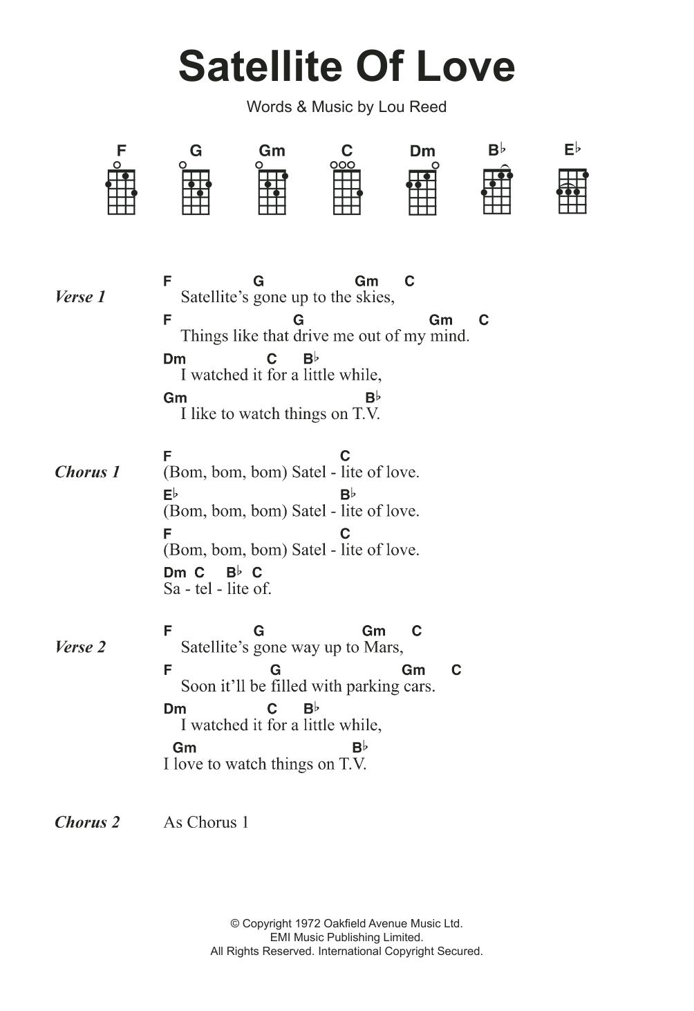 Satellite Of Love Lou Reed Ukulele