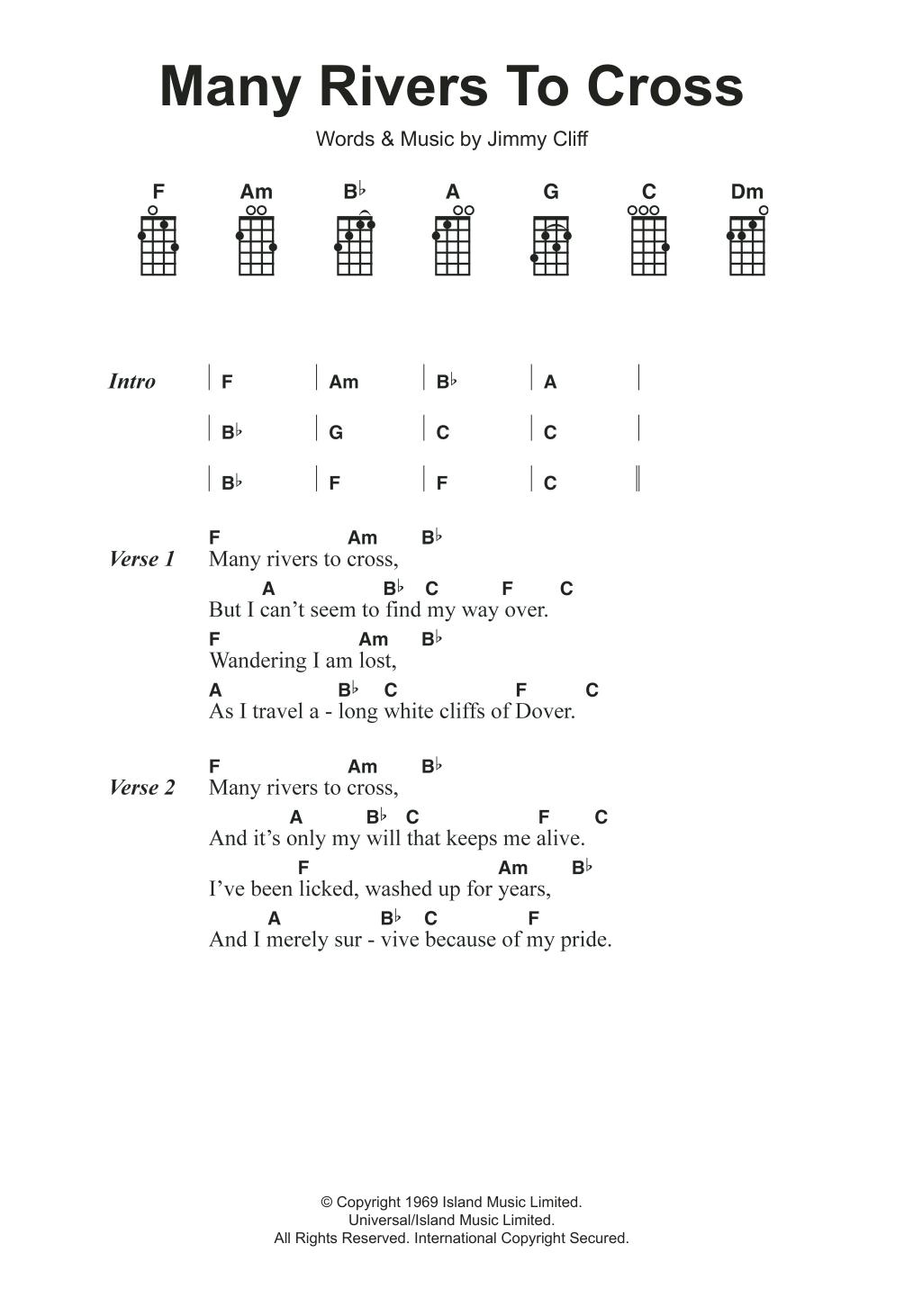 Many Rivers To Cross Sheet Music