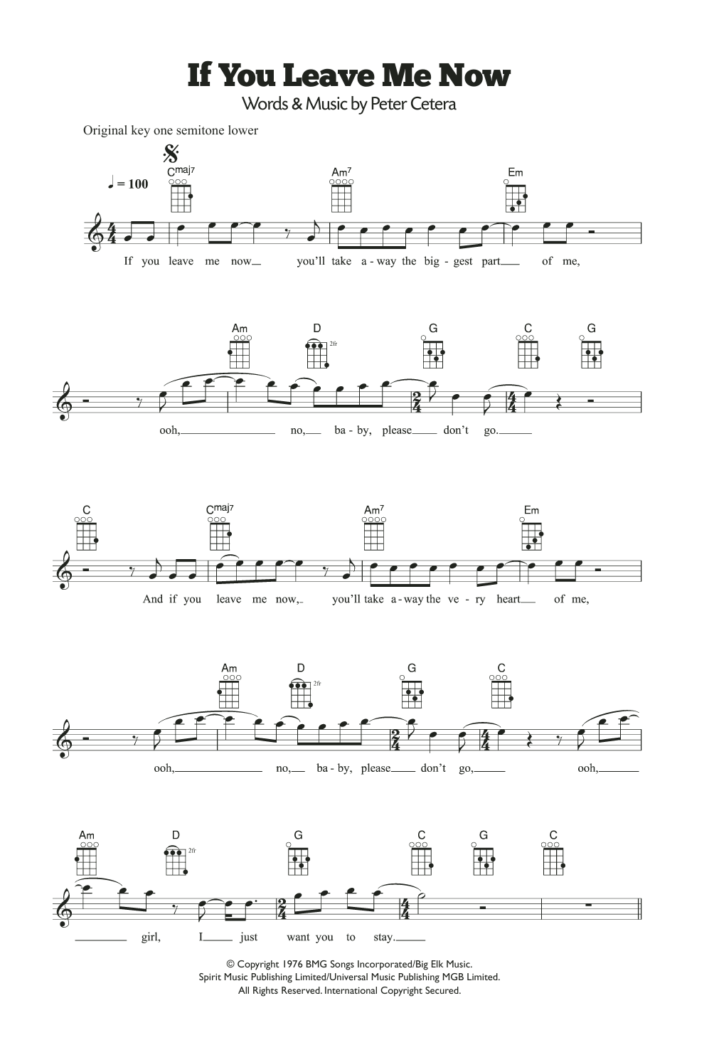 If You Leave Me Now Sheet Music
