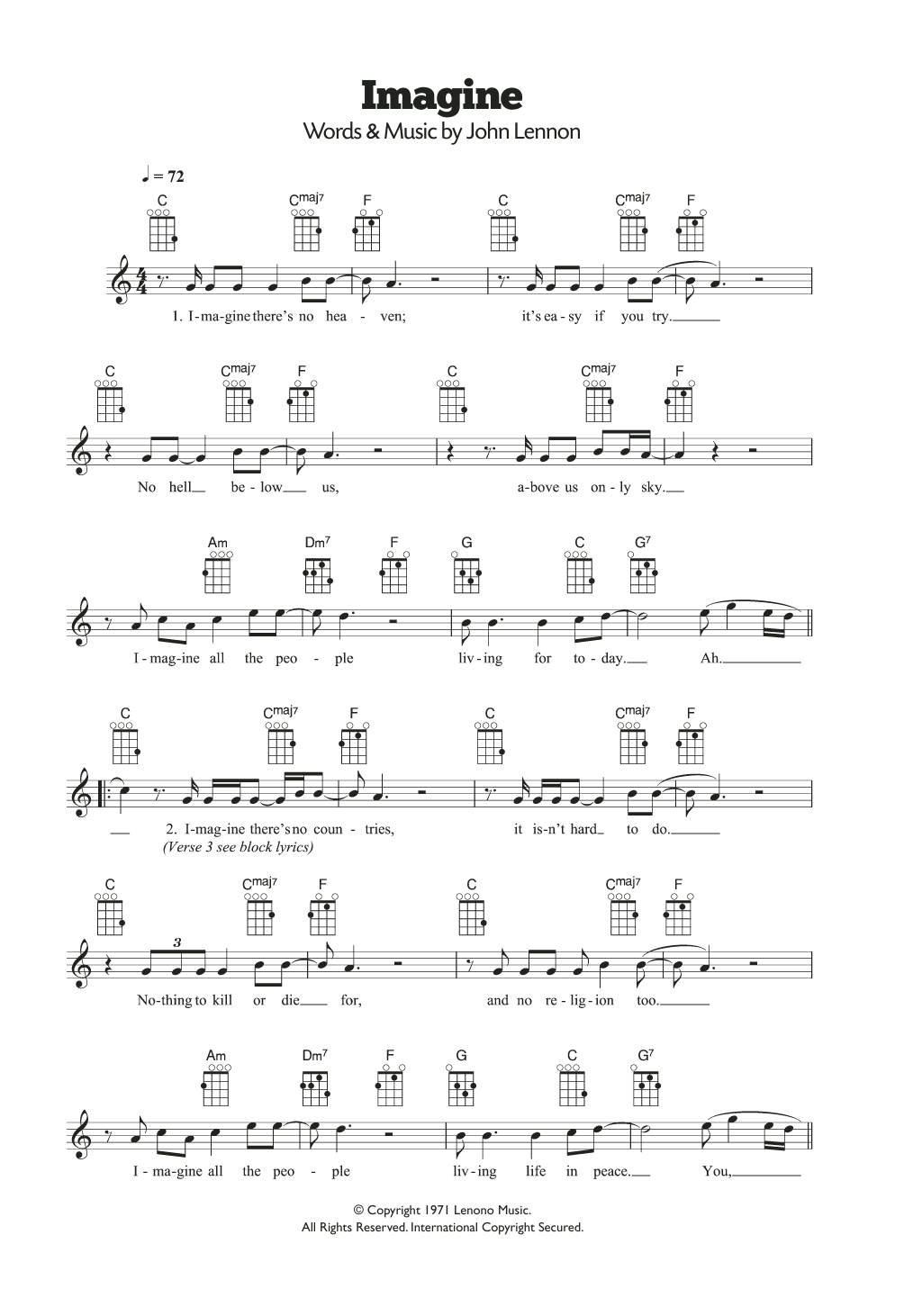Imagine Sheet Music