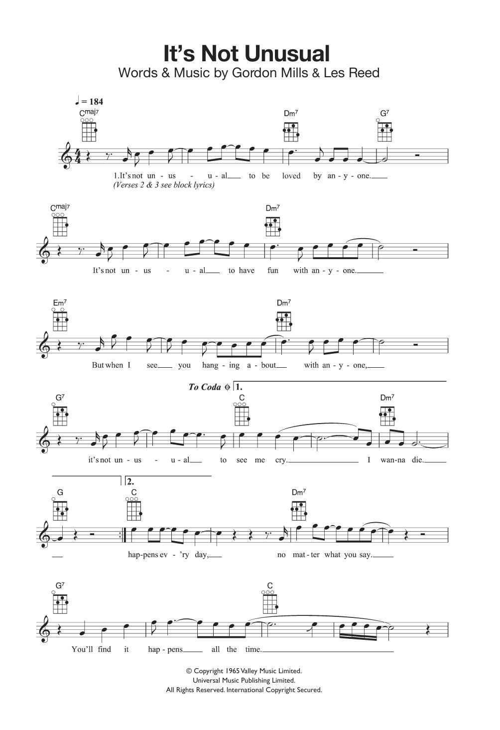 It's Not Unusual Sheet Music