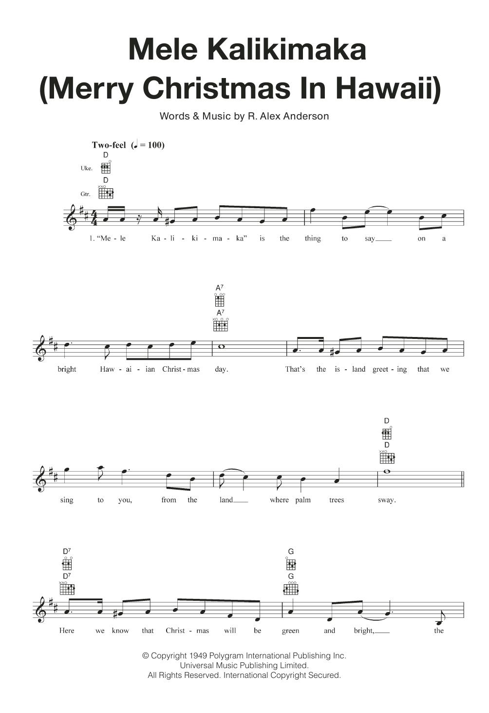 mele kalikimaka merry christmas in hawaii sheet music - Hawaiian Merry Christmas Song