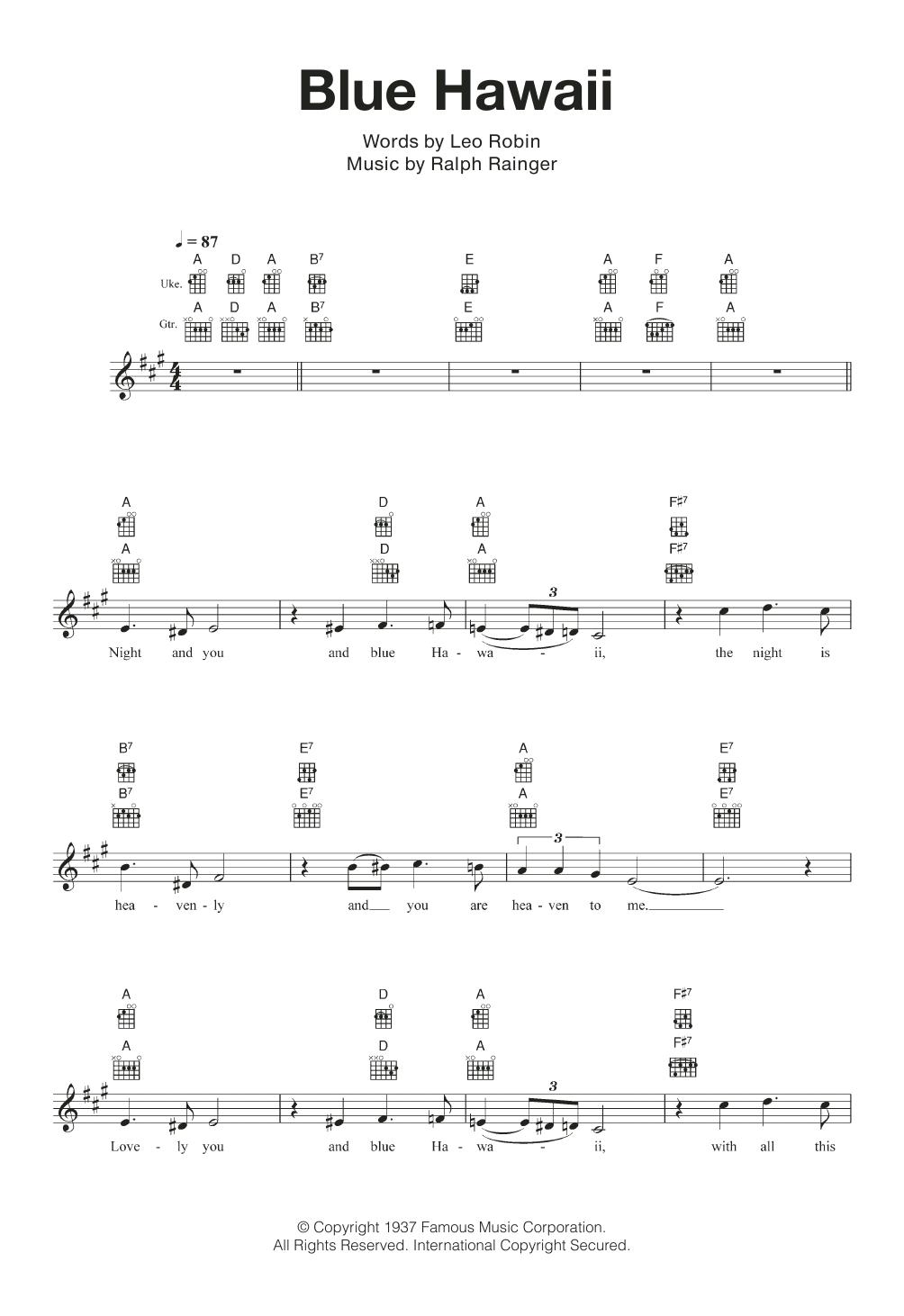 Blue Hawaii Sheet Music
