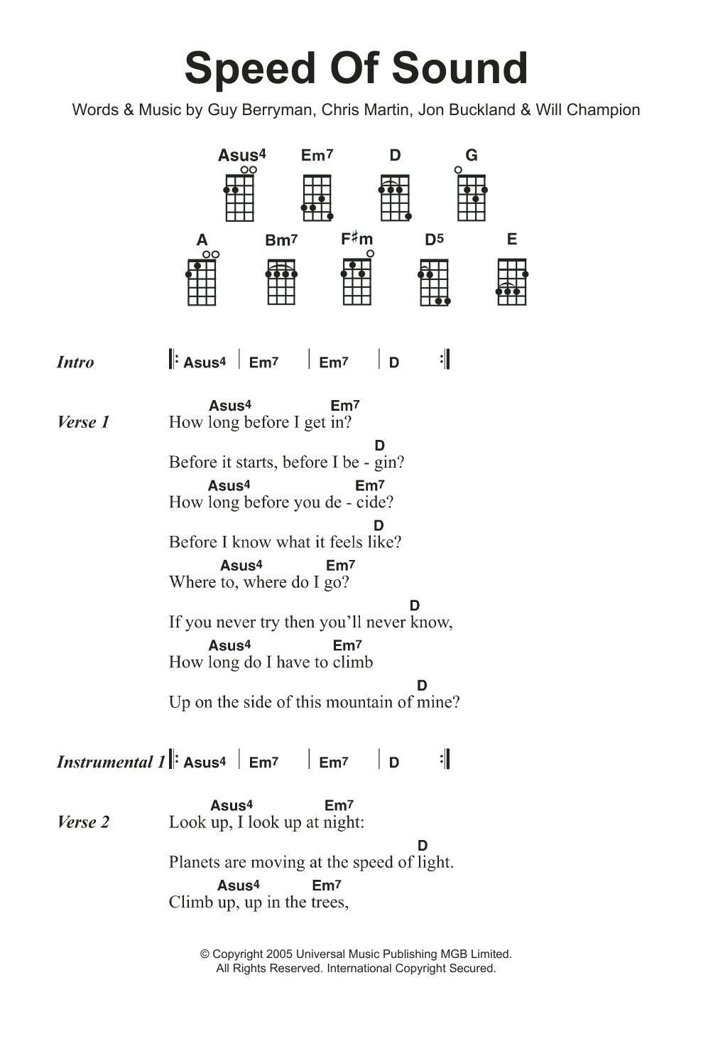 Speed Of Sound Sheet Music