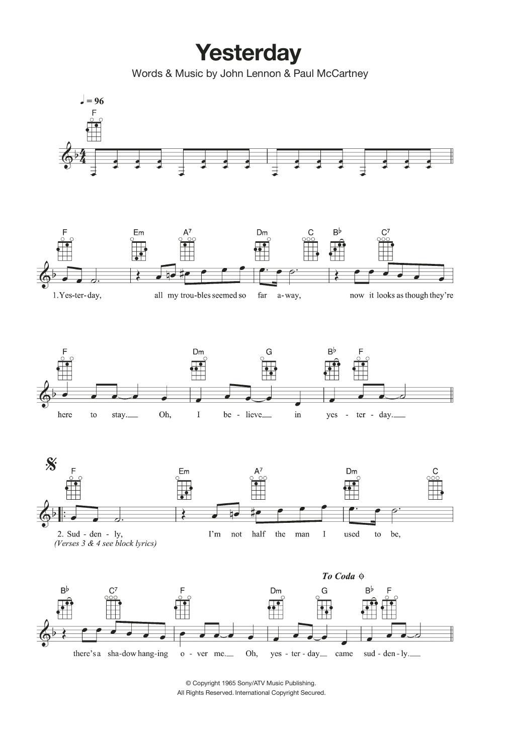 Yesterday Sheet Music