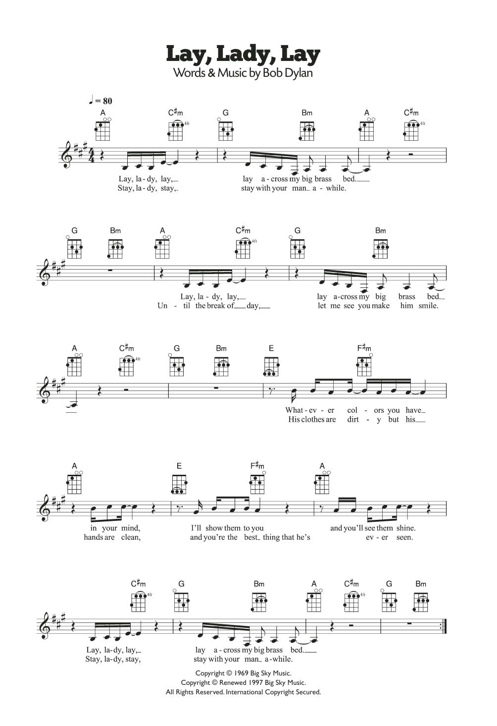 Lay Lady Lay Sheet Music