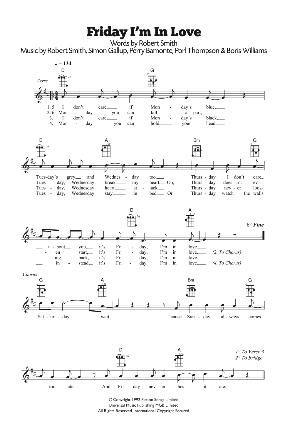Friday I'm In Love Sheet Music