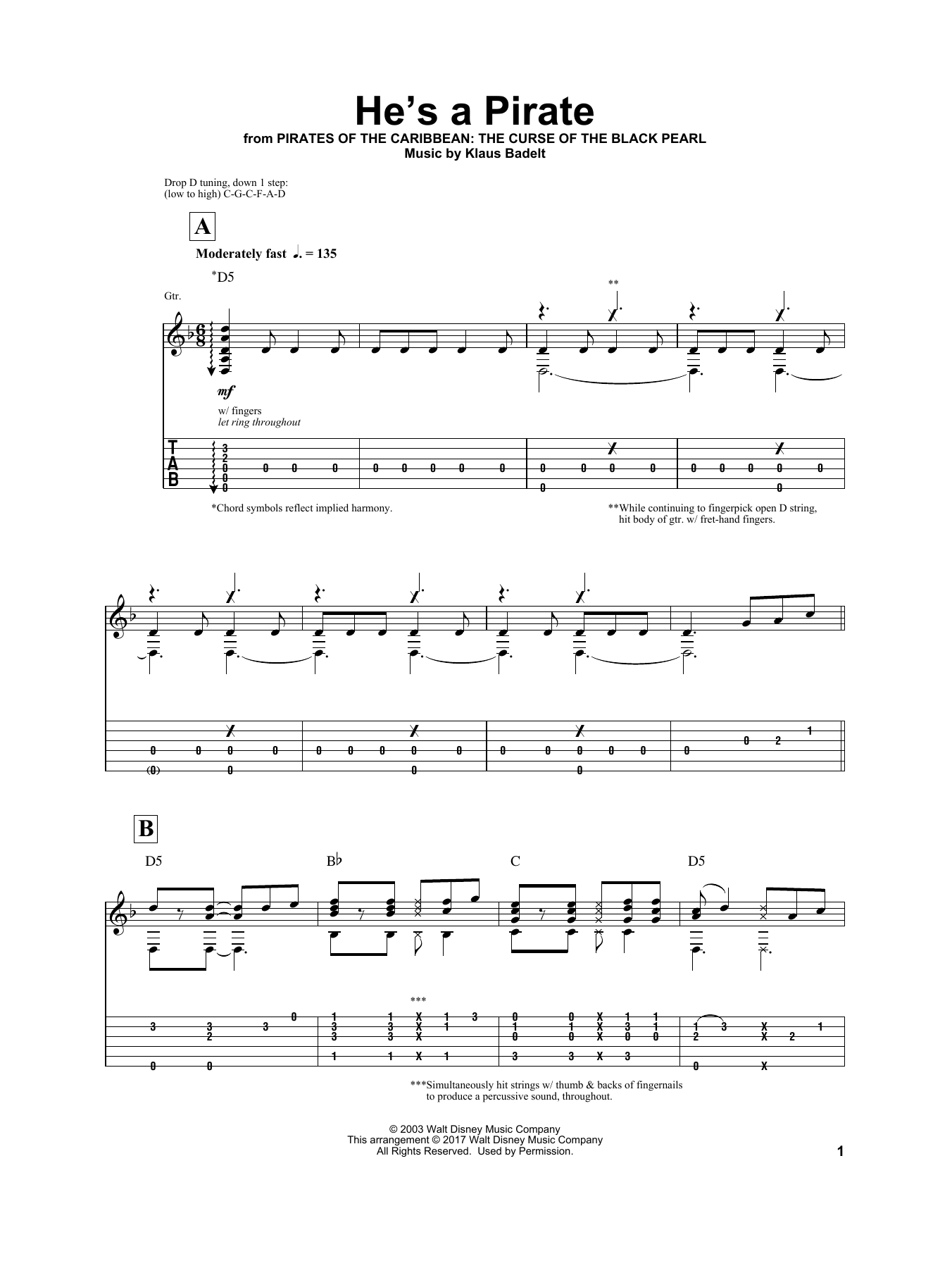 Tablature guitare He's A Pirate de Igor Presnyakov - Autre