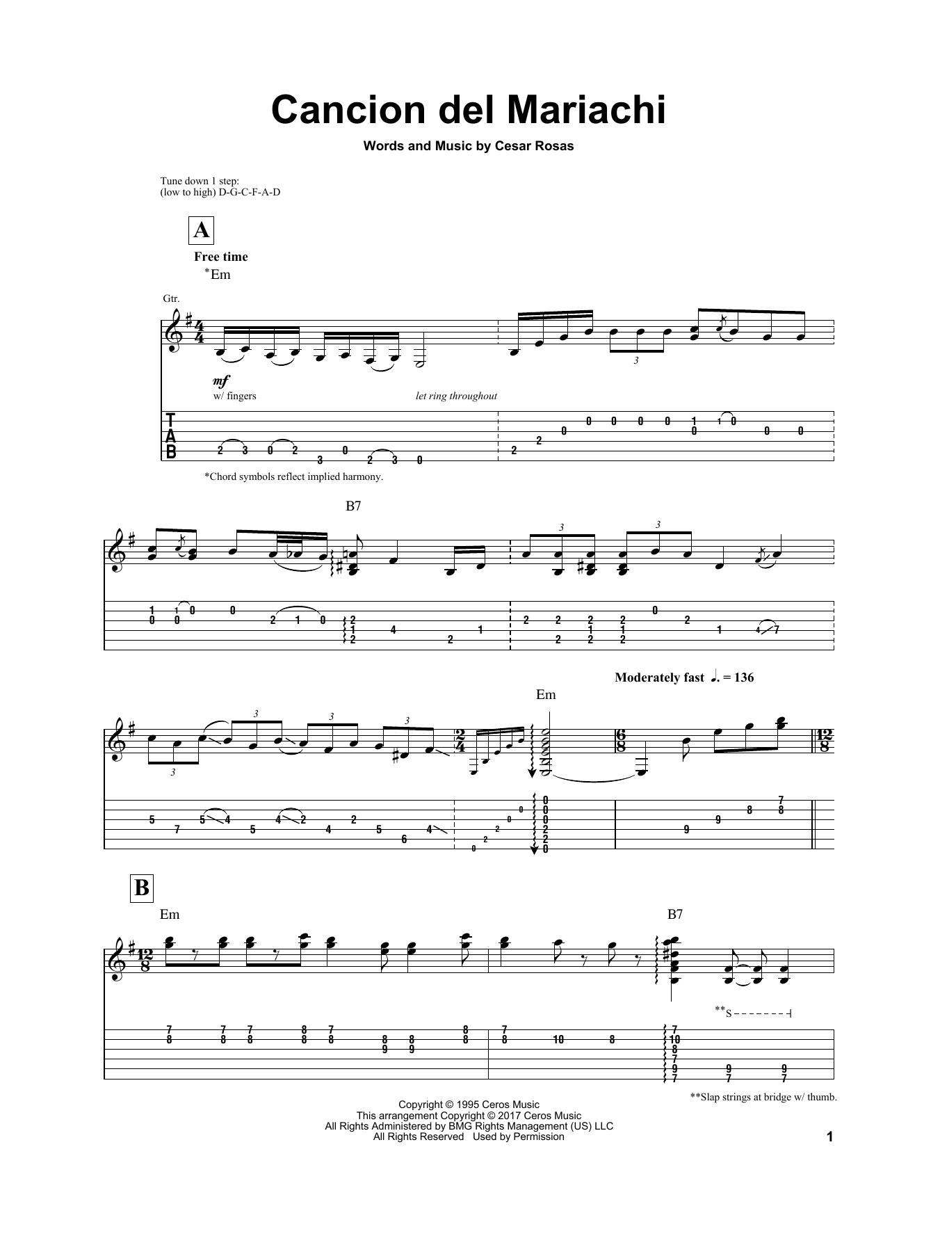 Cancion Del Mariachi Sheet Music
