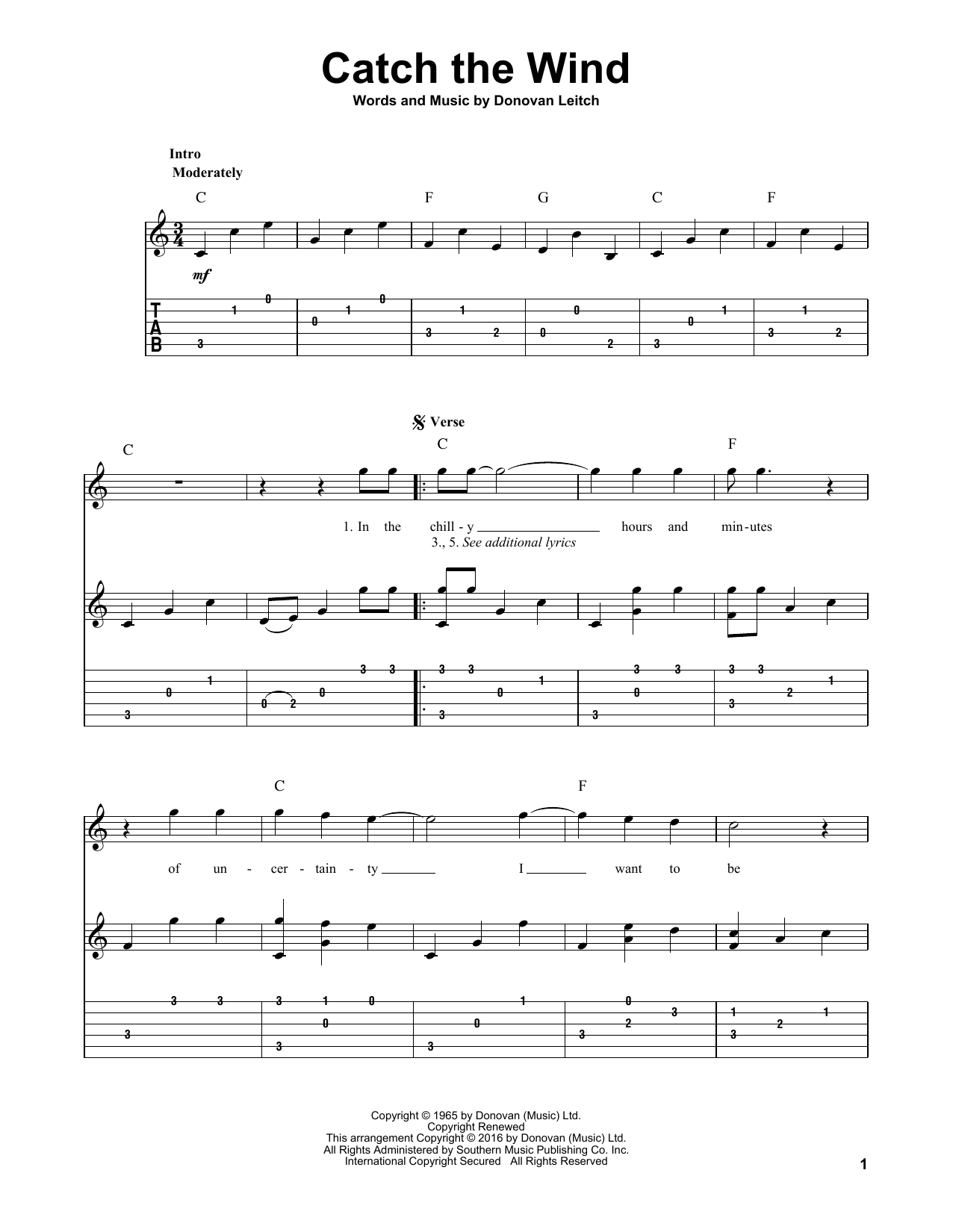 Catch The Wind (Solo Guitar Tab)