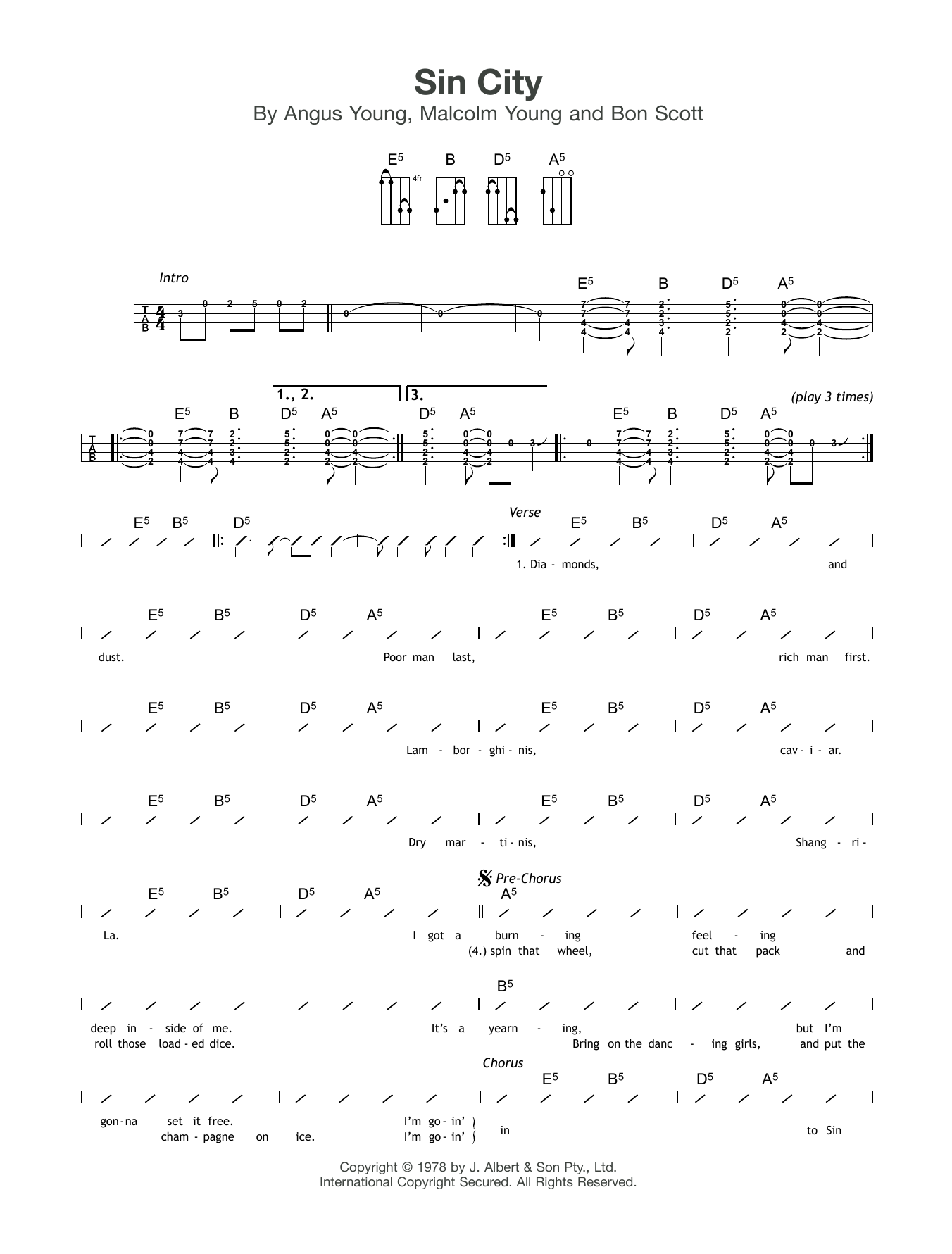 Sin City Sheet Music