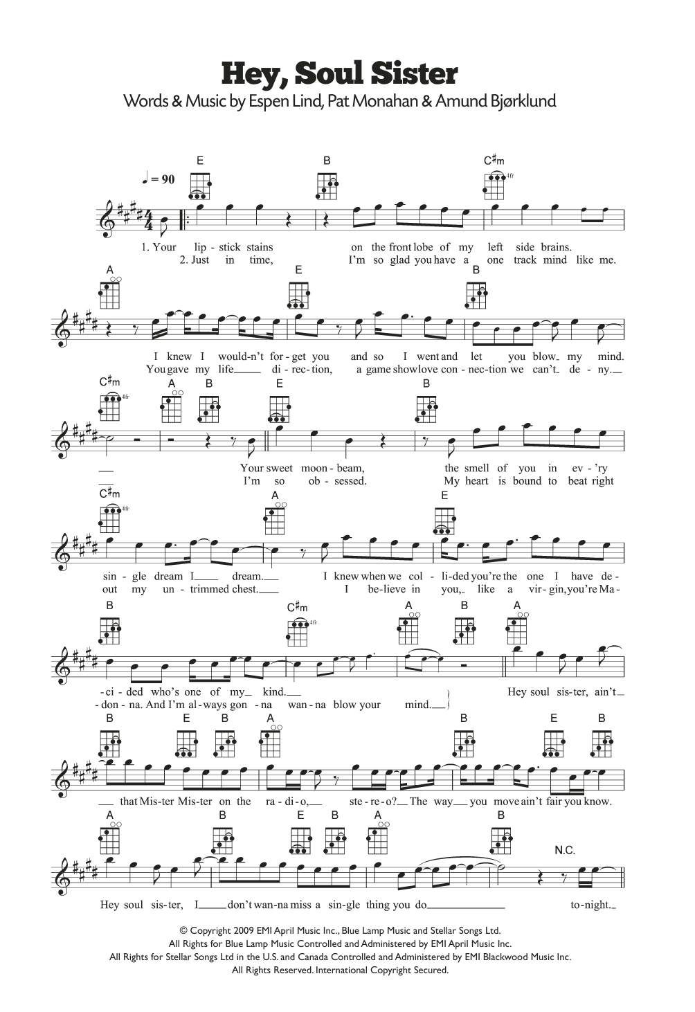 Hey soul sister sheet music direct hey soul sister 199 artist train format ukulele hexwebz Image collections