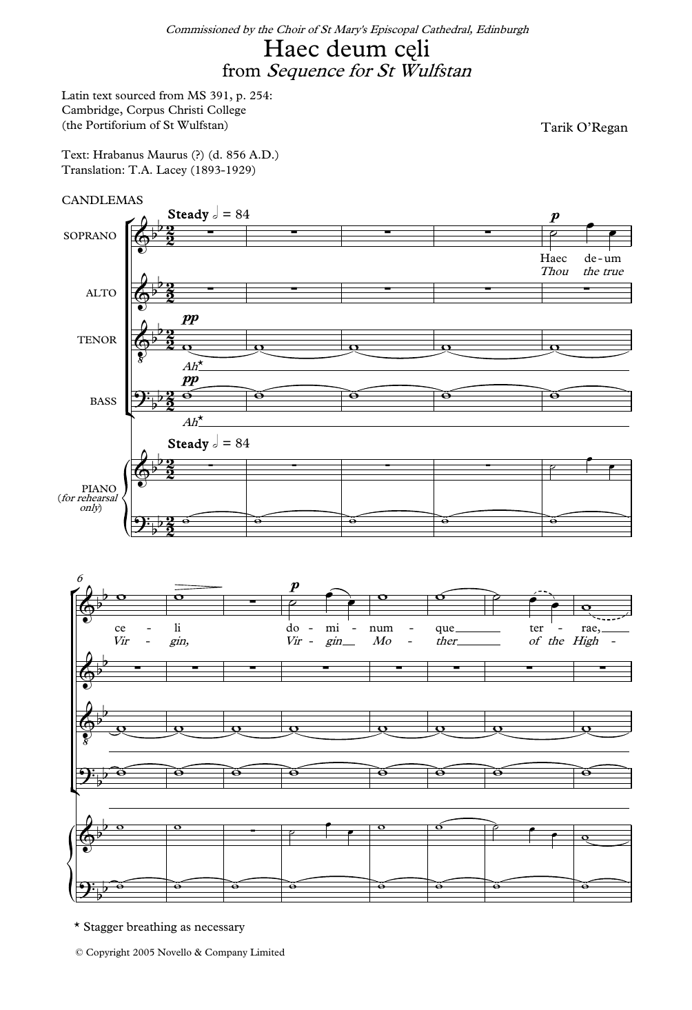 Haec Deum Celi (From Sequence for St Wulfstan) Sheet Music