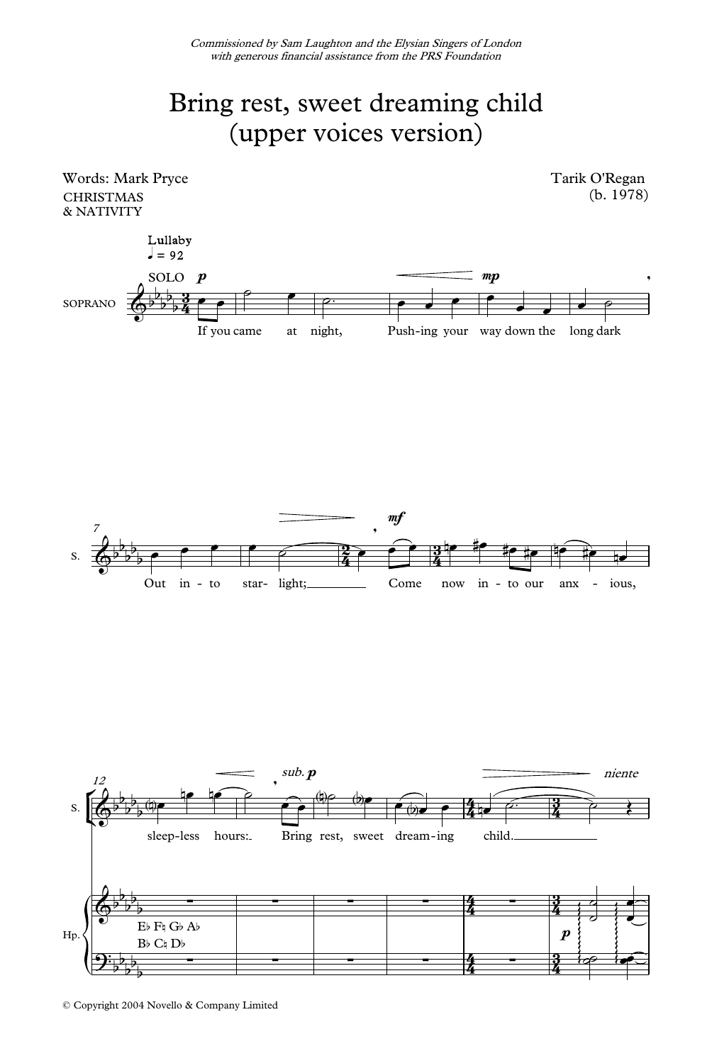 Bring Rest Sweet Dreaming Child Sheet Music