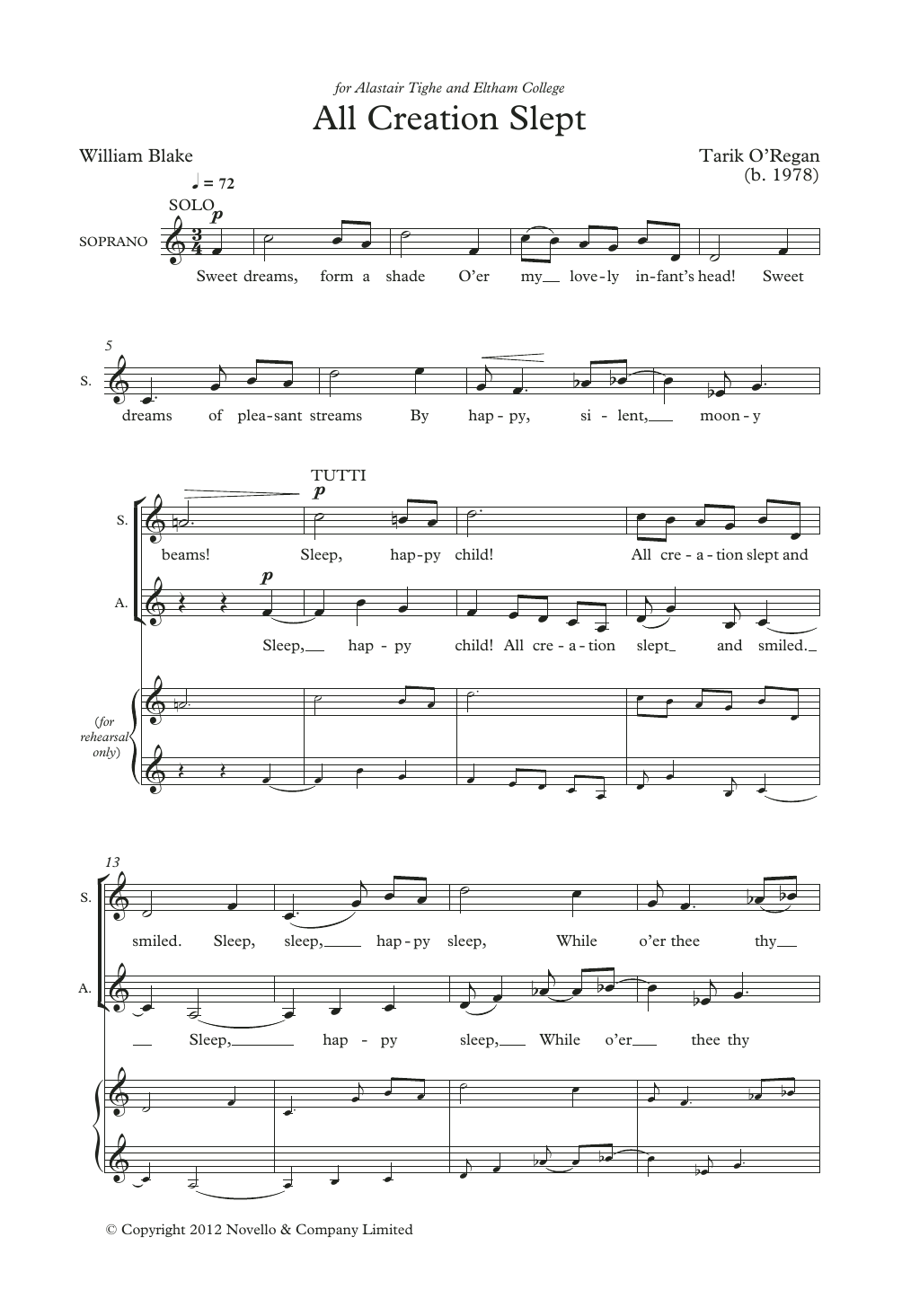 All Creation Slept Sheet Music
