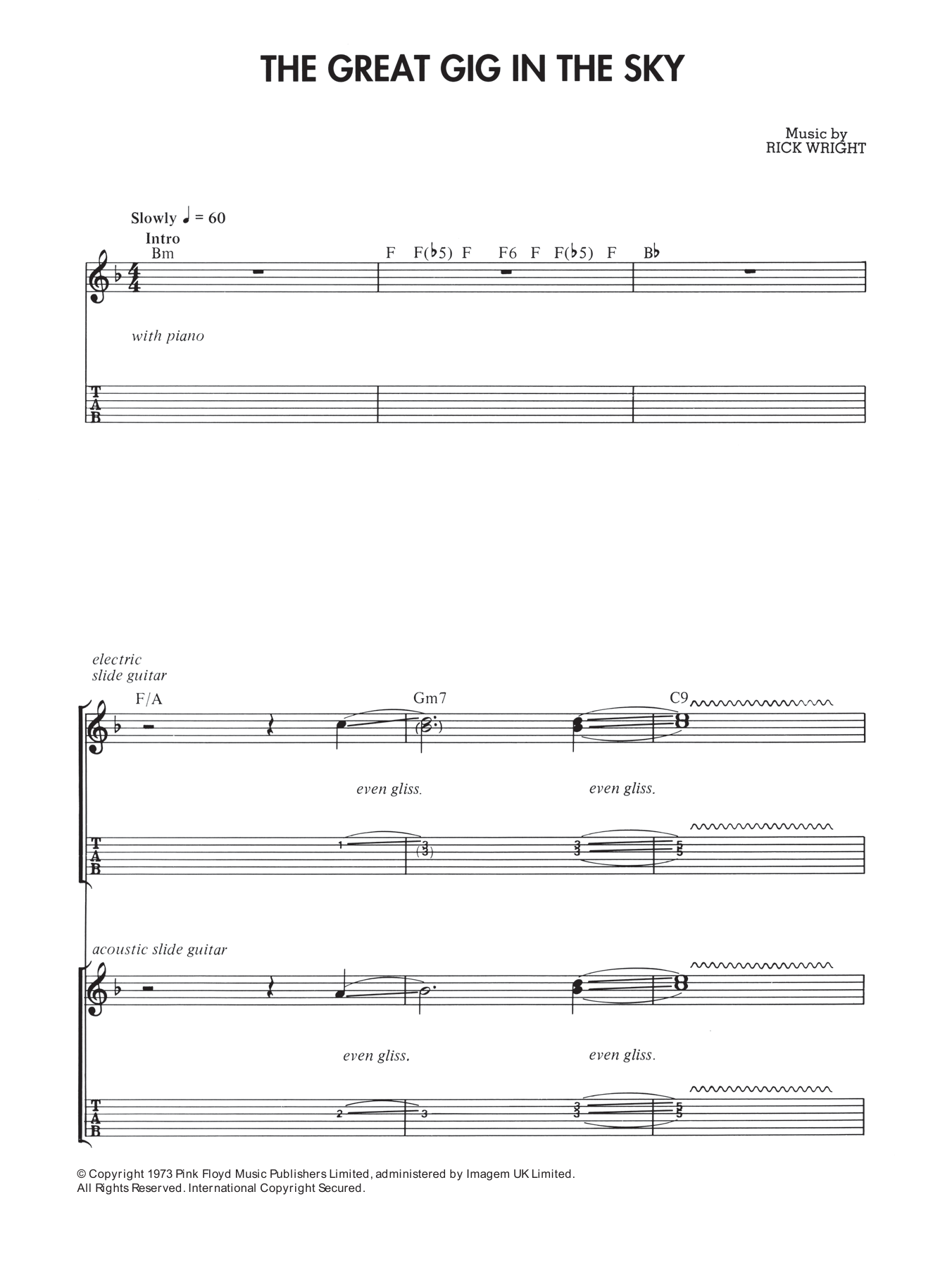 The Great Gig In The Sky Sheet Music
