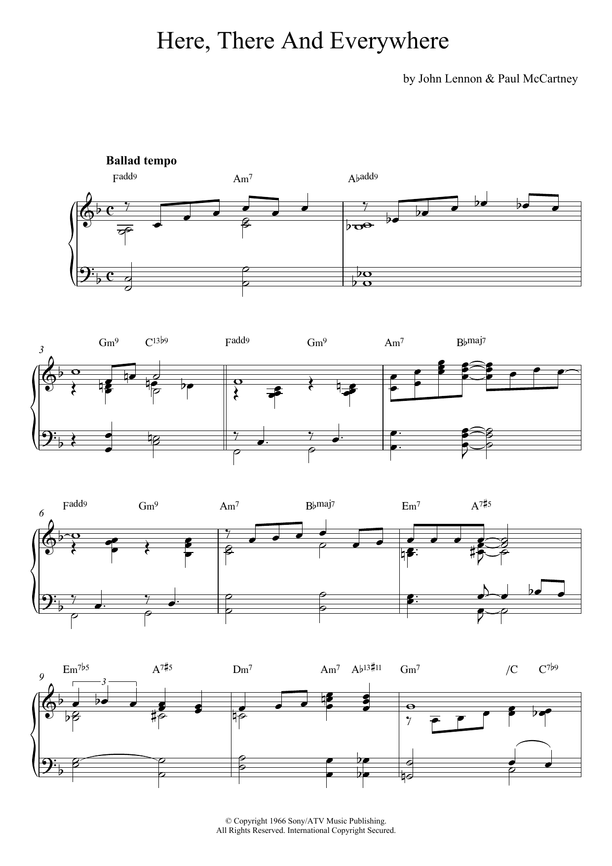 Here, There And Everywhere (jazz version) Sheet Music