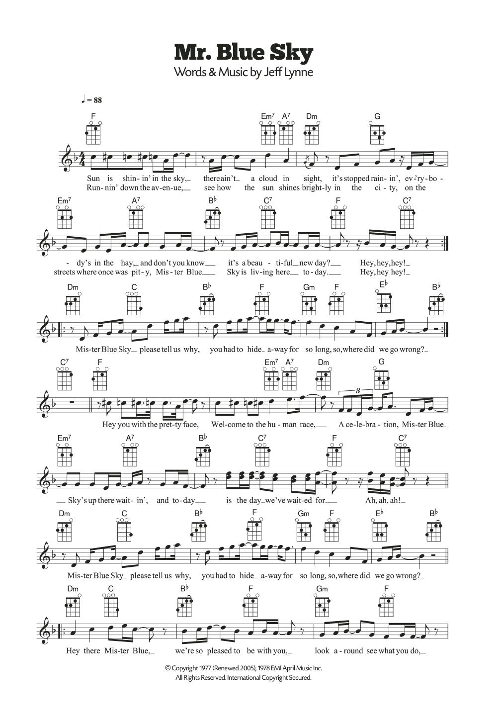 Mr Blue Sky Sheet Music Electric Light Orchestra Ukulele
