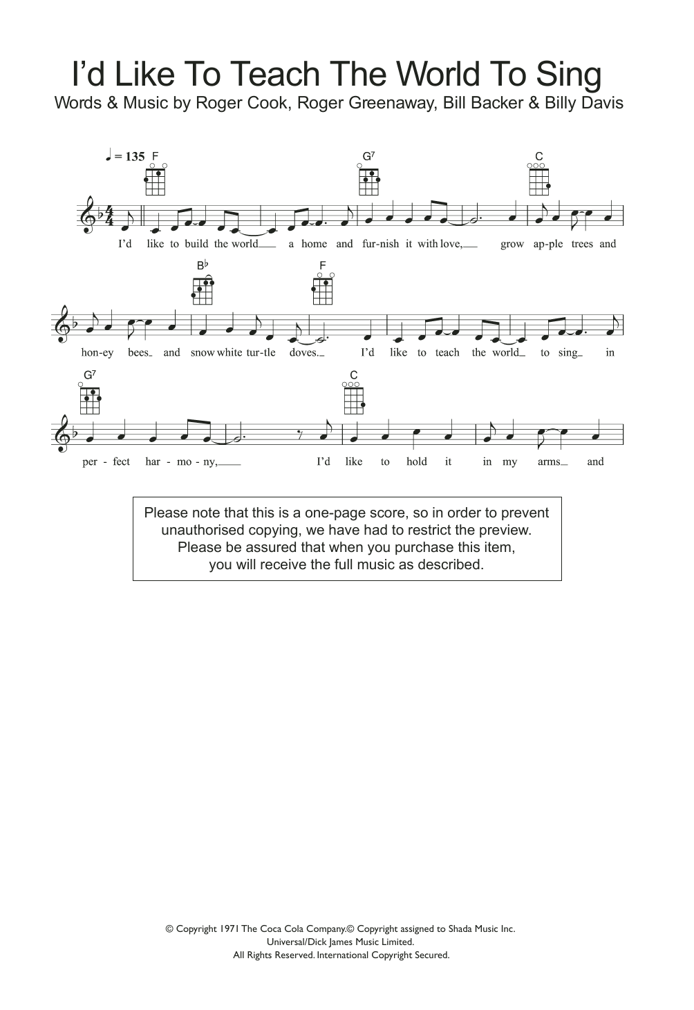 I'd Like To Teach The World To Sing Sheet Music