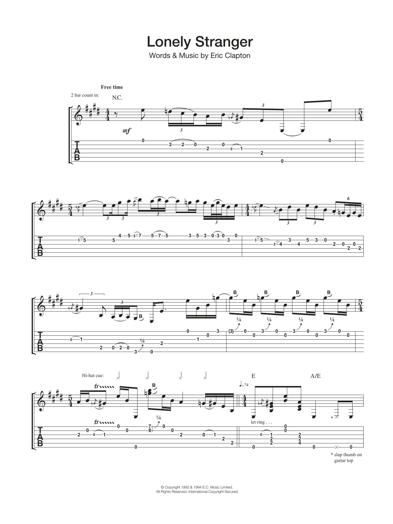 Lonely Stranger Sheet Music