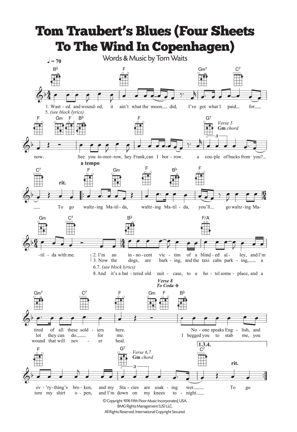 Tom Traubert's Blues (Four Sheets To The Wind In Copenhagen) Sheet Music