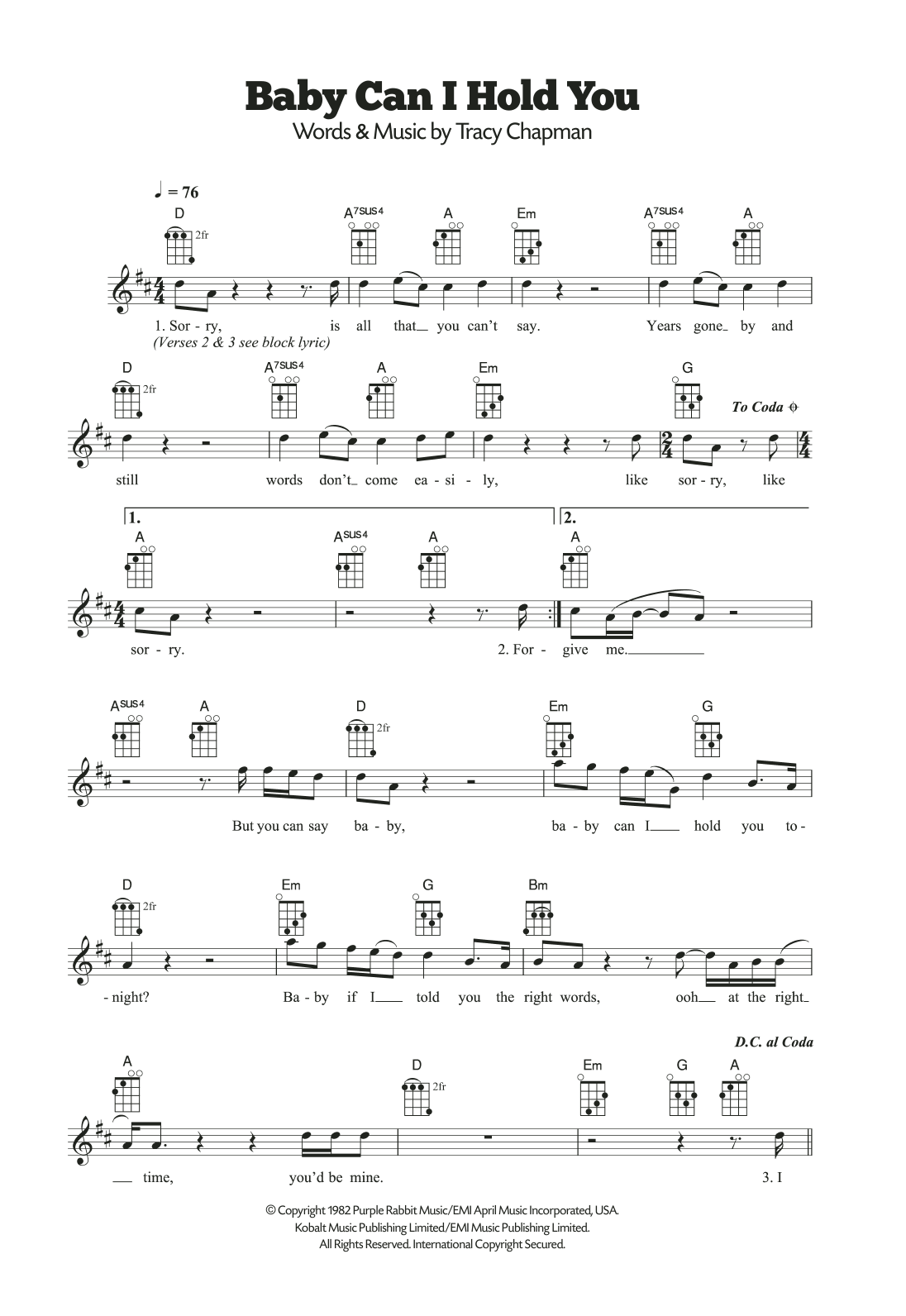Baby Can I Hold You Sheet Music