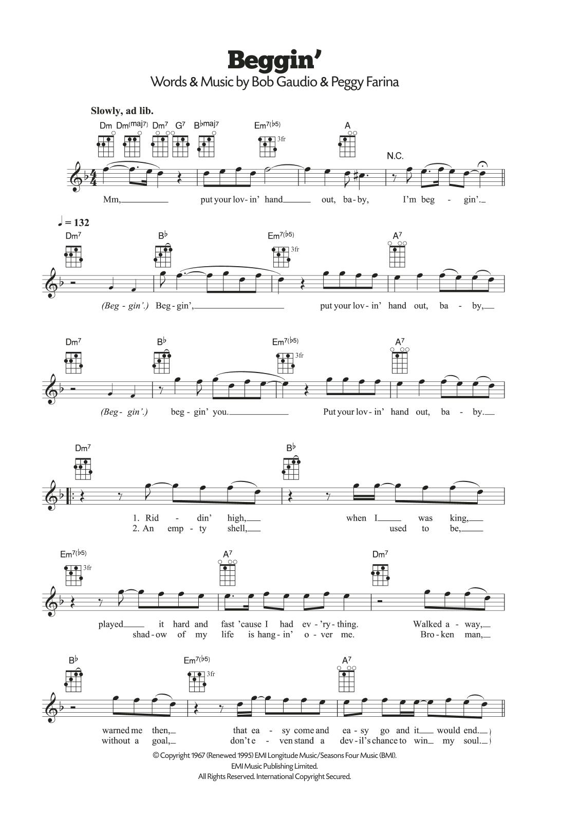 Beggin' Sheet Music