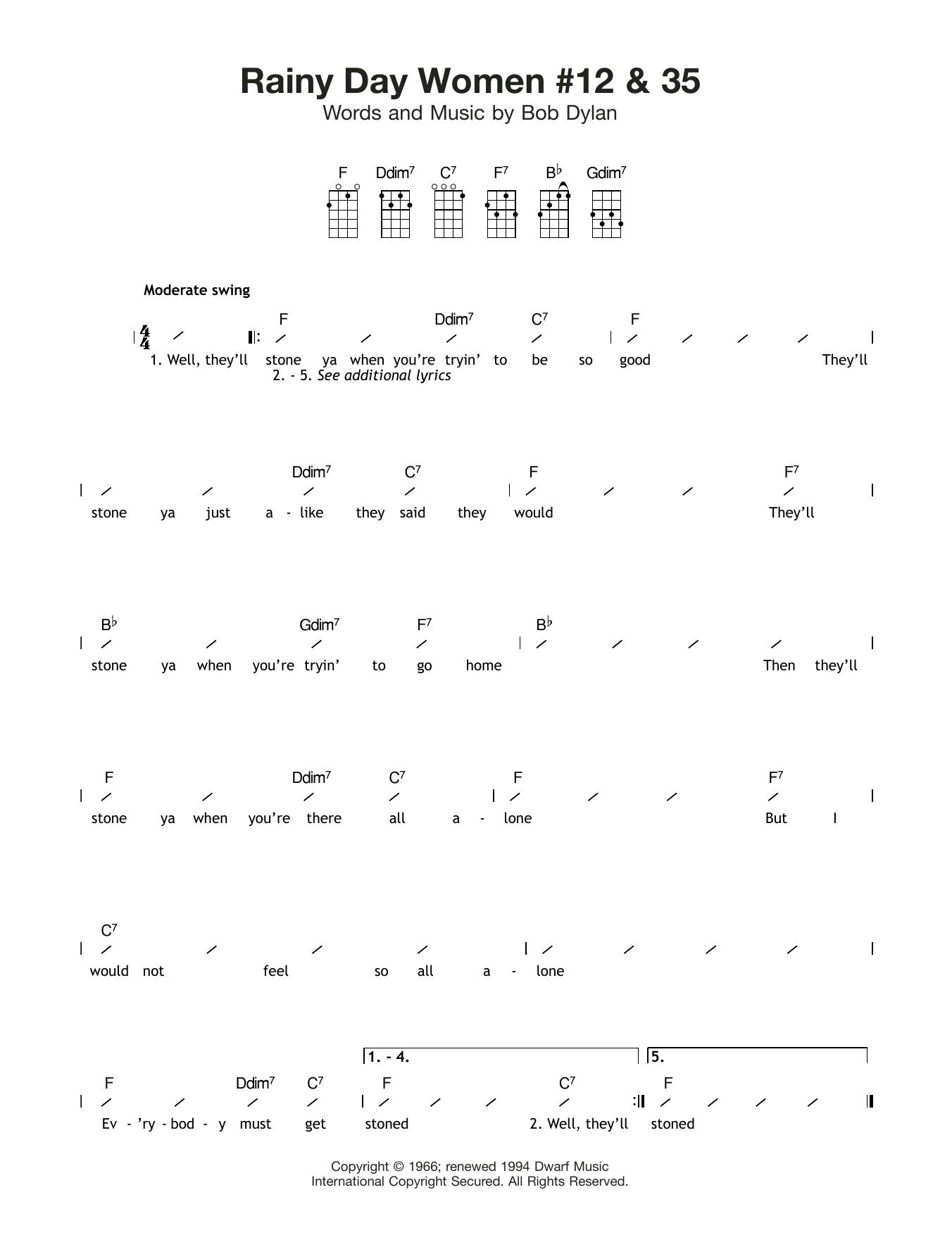 Rainy Day Women #12 and 35 Sheet Music