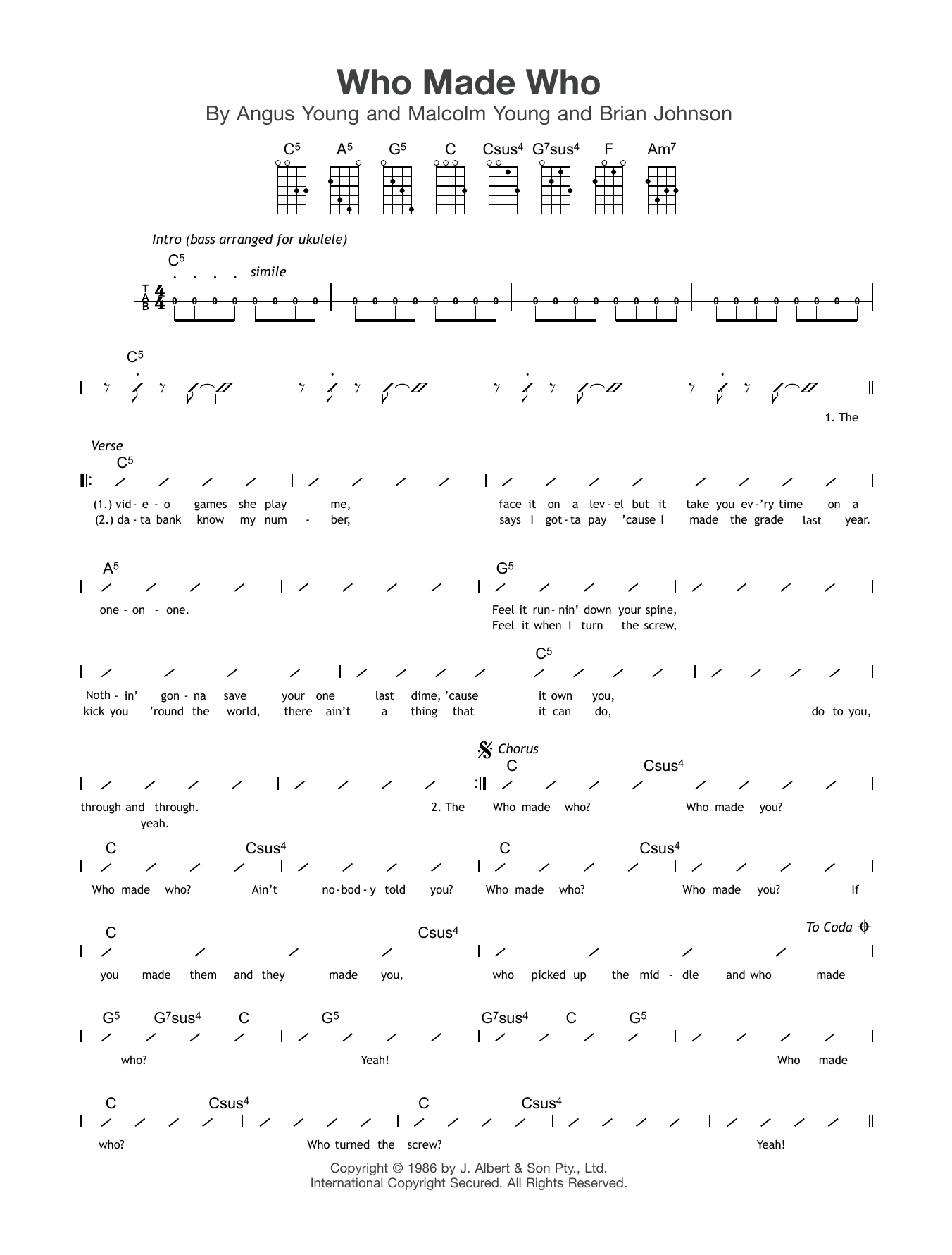 Who Made Who Sheet Music
