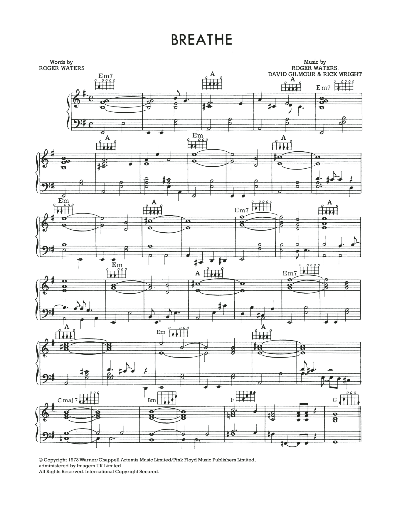Breathe (In The Air) Sheet Music
