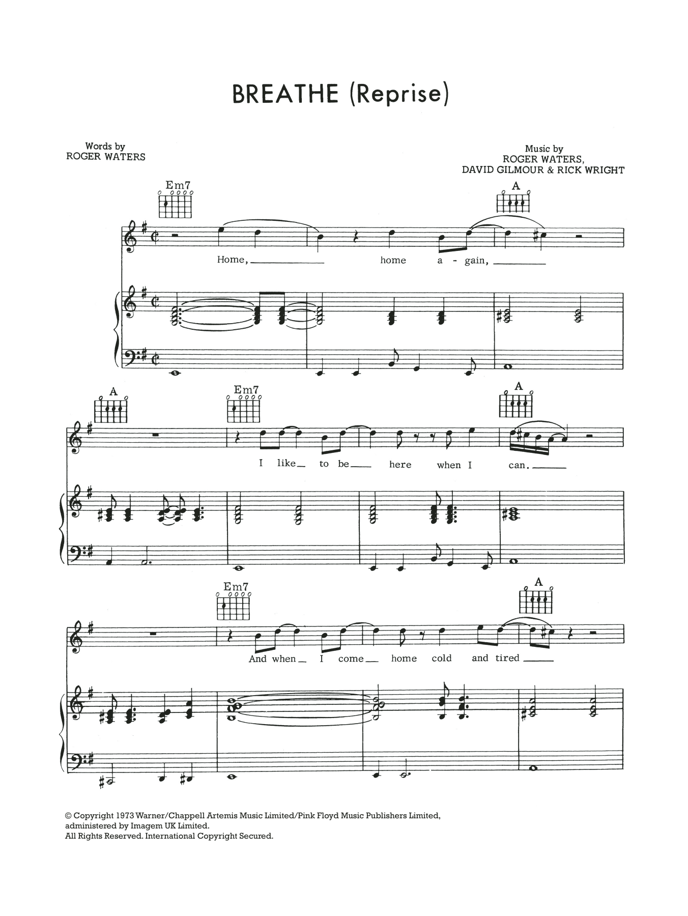 Breathe (In The Air) (Reprise) Sheet Music