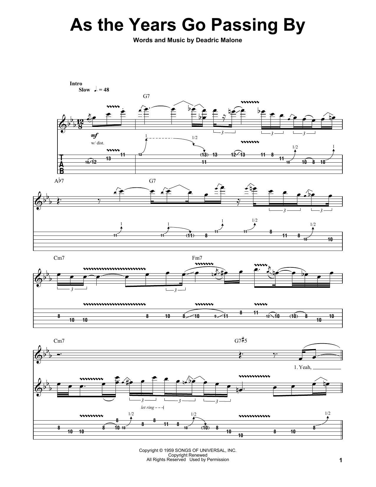As The Years Go Passing By (Guitar Tab (Single Guitar))