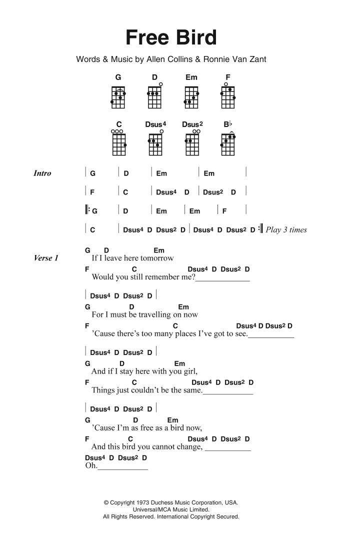 Free Bird Sheet Music | Lynyrd Skynyrd | Ukulele Chords/Lyrics