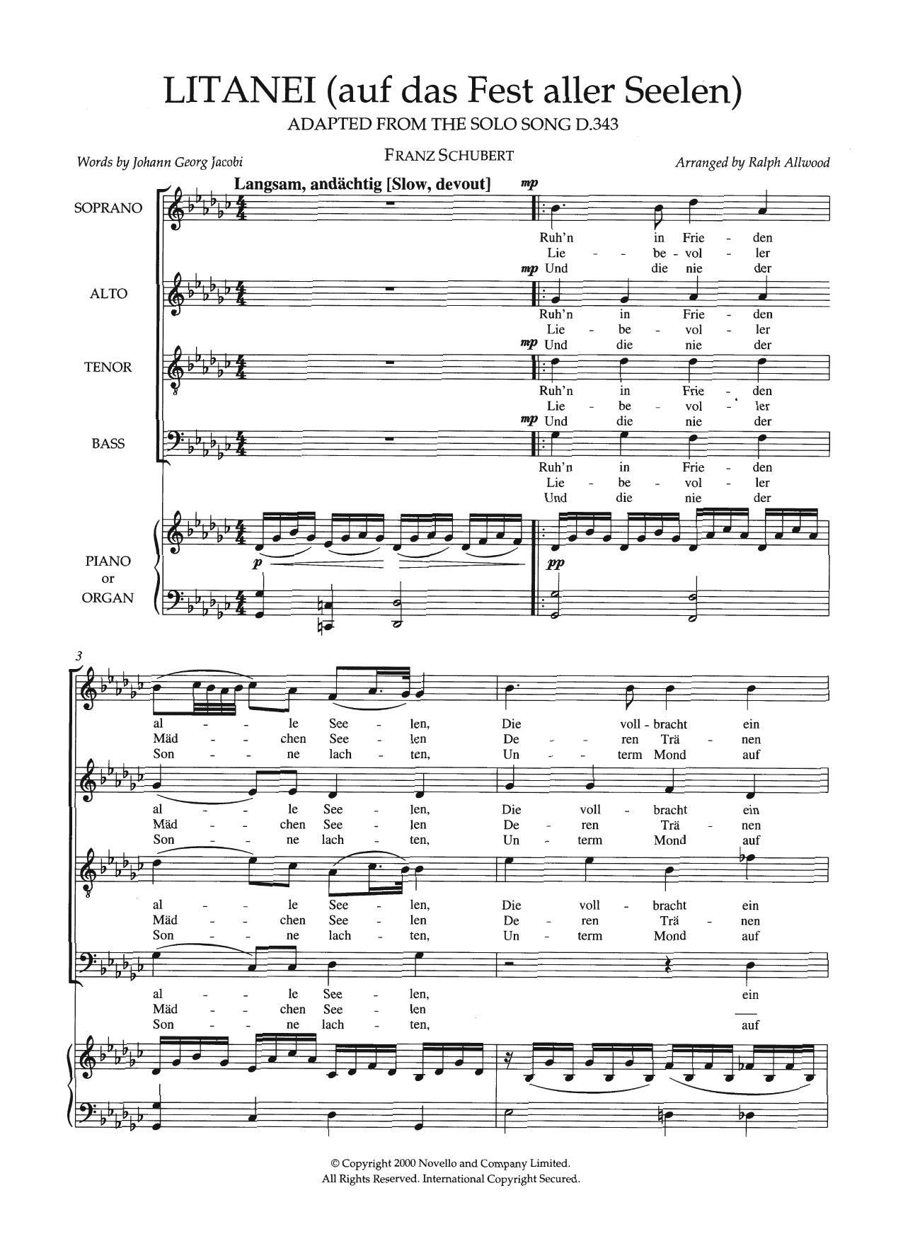 Litanei (Auf Das Fest Aller Seelen) (arr. Ralph Allwood) Sheet Music
