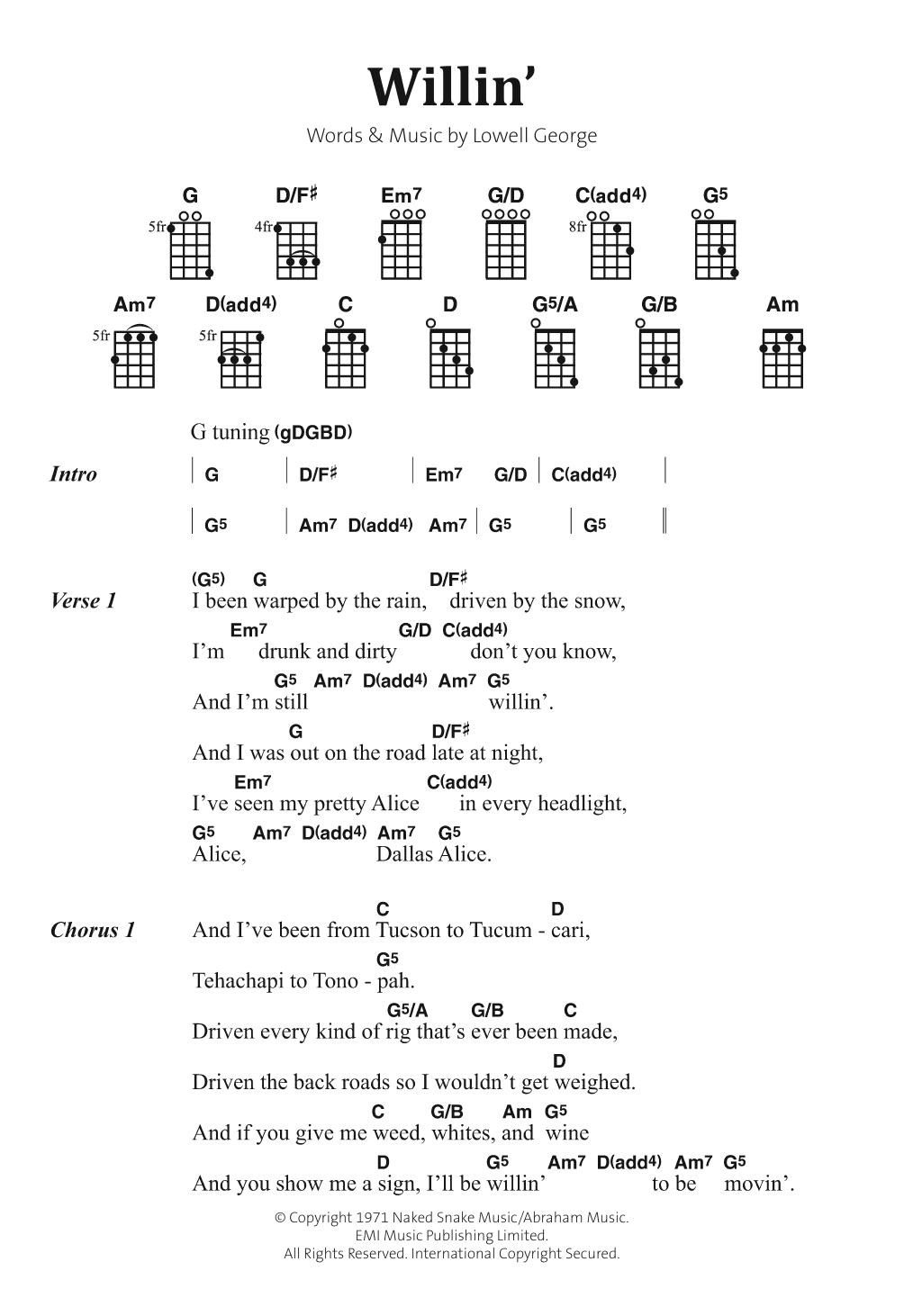 Willin' Sheet Music