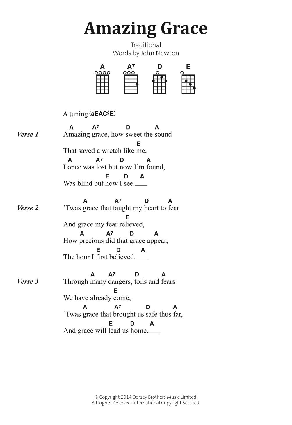 Amazing Grace Sheet Music Traditional Banjo Lyrics Chords