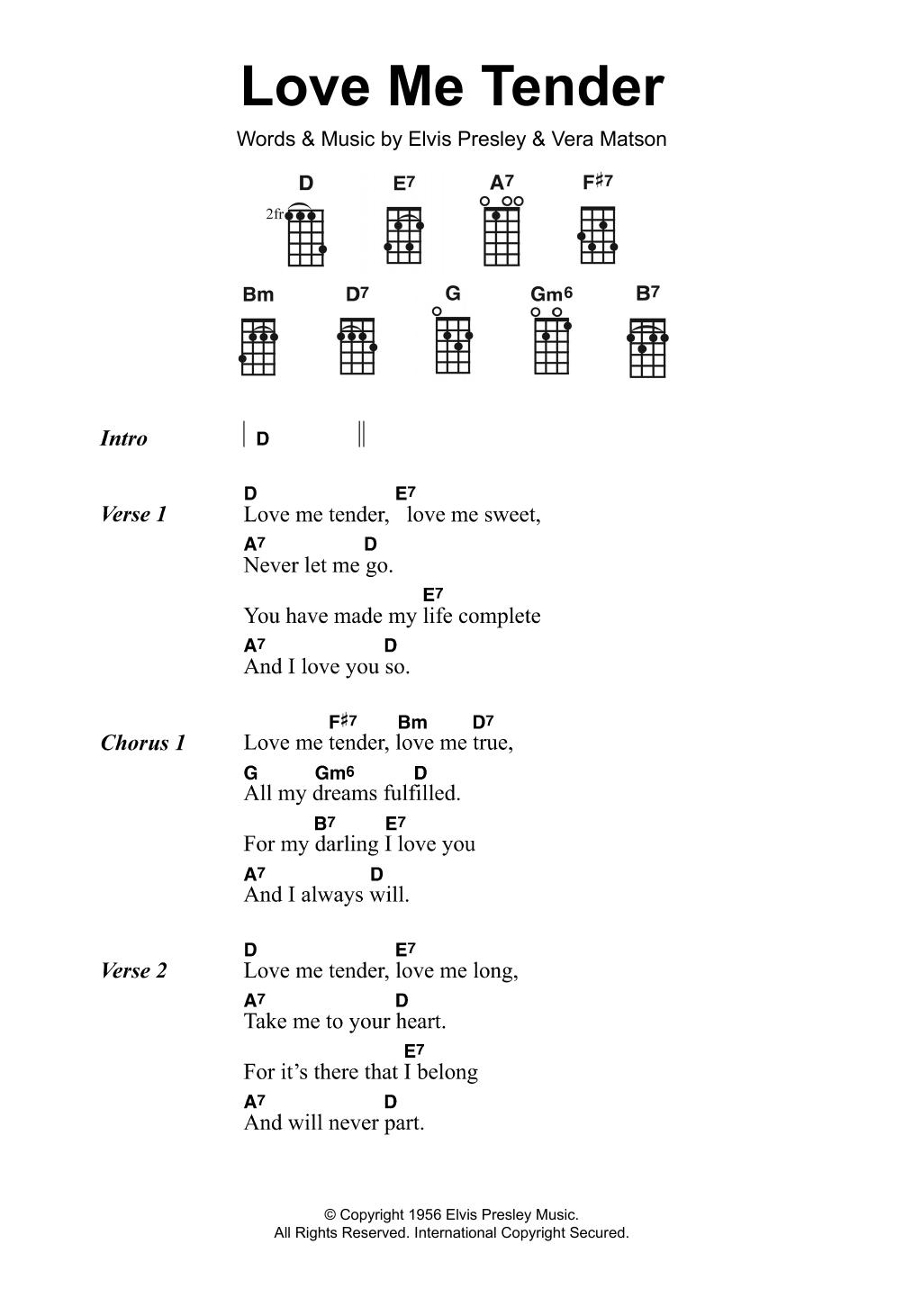 Love Me Tender Elvis Presley Ukulele Lyrics Chords