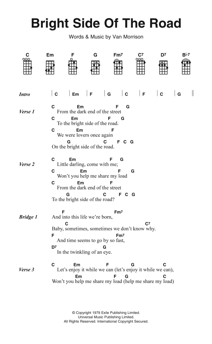 Bright Side Of The Road by Van Morrison Piano, Vocal & Guitar (Right-Hand  Melody) Digital Sheet Music