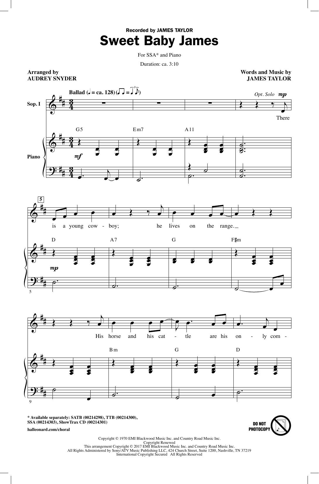 Partition chorale Sweet Baby James de Audrey Snyder - SSA
