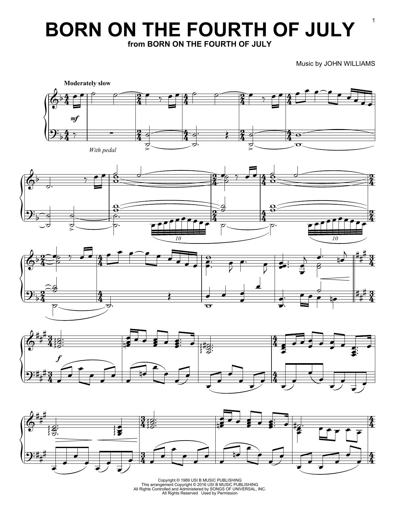 Partition piano Born On The Fourth Of July de John Williams - Piano Solo