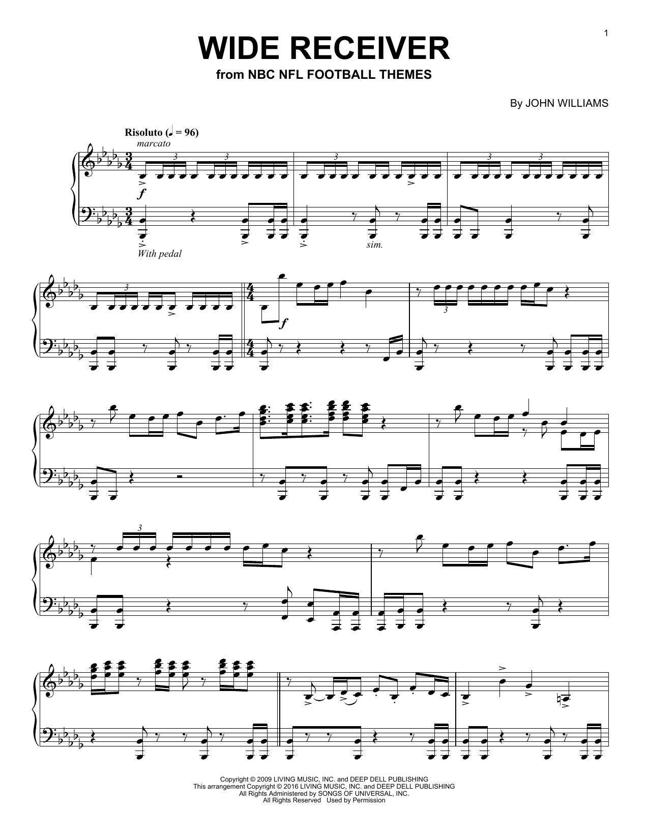 Partition piano Wide Receiver de John Williams - Piano Solo